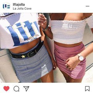 LF plaid navy blue and white skirt